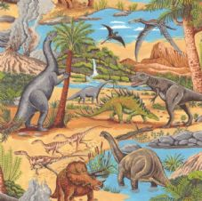 Nutex Lost World Dinosaurs 100% Cotton Fabric